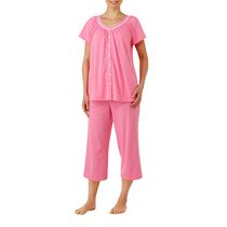 George Women's V-Neck Short Sleeve Pyjama Set Pink 1x