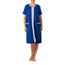 George Women's Short Sleeve Zip Front Robe Blue 1x