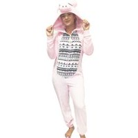 George Women's Pig Hooded Onesie Pyjama S