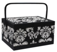 Storage Solutions Large Sewing Basket - Black and White