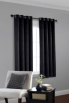 Faux Suede Room Darkening Window Panel Black