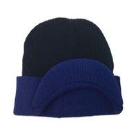 George Boys' Rib Knit Hat with Contrast Colour Cuff and Peak Navy Combo