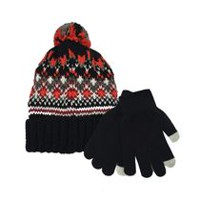 George Boys Knit Jacquard Hat with Pom and Magic Glove Black; Orange; Red