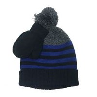 George Boys' Striped Hat with Pompom and Magic Glove Set