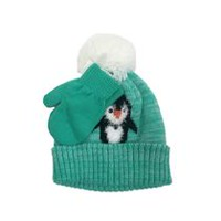 George Girls' Unlined Beanie with penguin Face and Magic Touch Glove Set
