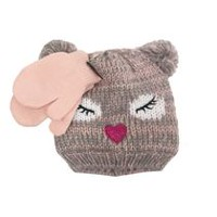 George Girls' Knitted Polar Hat and Magic Touch Glove Set Pink