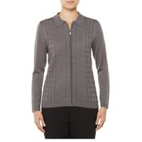 Alia Women's Cable Knit Polo Collar Cardigan with Zip Front Heather Grey L