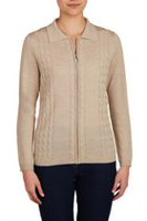 Alia Women's Cable Knit Polo Collar Cardigan with Zip Front Heather Oatmeal XL
