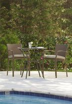 COSCO Outdoor Living 3 Piece High Top Bistro Lakewood Ranch Steel Woven Wicker Patio Balcony Furniture Set with Cushions, Brown