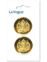 La Vogue 28mm shank button- gold