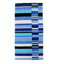 MAINSTAYS PRINTED BEACH TOWEL-- BROKEN STRIPE BLUE