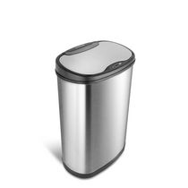 NINESTARS 13.2 Gal / 50L Motion Sensor Oval Garbage Can, Stainless Steel with Stainless Steel Lid