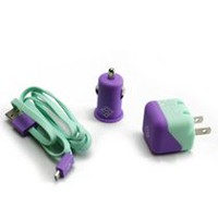 BlueDiamond ToGo Charging Kit for Android/Blackberry/Microsoft Phones - Purple and Aqua