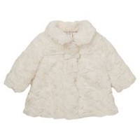 George British Design Baby Girls Ivory Faux Fur Coat 3-6 months