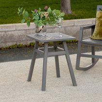 Chevron Patio Wood Side Table - Grey Wash