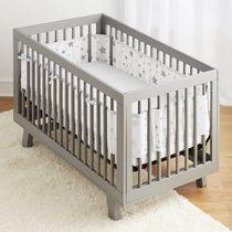 Breathable Baby Crib Liner- Grey Stars