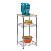 Honey-Can-Do 3-Tier Shelving Unit with Wood Top