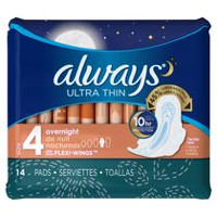 Always Ultra Thin Size 4 Overnight Pads With Wings, Unscented