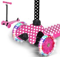 Rugged Racers Mini 3-Wheel Kids Scooter in Pink Polka Dot