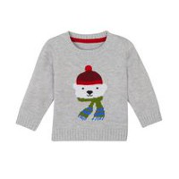 George baby Boys' Applique Holiday Sweater Grey 12-18 months