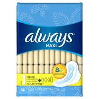 Always Maxi Size 1 Regular Pads with Wings, Unscented