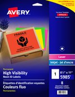 Avery® High Visibility Neon ID Labels for Laser and Inkjet Printers