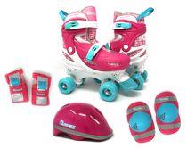 Chicago Skates Kids Adjustable Quad Rollerblades With Accessory Bundle, Pink
