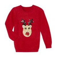 George Girls' Christmas Eyelash Sweater Red XS