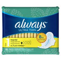 Serviettes minces Ultra Thin d'Always avec ailes Flexi-Wings et protection Leakguard + Rapid Dry pour flux régulier