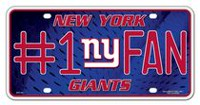 GTEI NFL New York Giants Metal Licence Plate