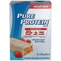 Pure Protein Strawberry with Greek Style Yogourt Coating 6x50G Value Pack