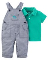 Child of Mine made by Carter's Newborn Boys' 2-piece Overall Turtle Set 6-9 months