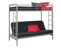 DHP Twin Over Futon Bunk Bed - Silver