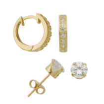 Sterling Silver Gold Plated 6mm Cubic Zirconia Stud and Huggie Hoop Earring Set