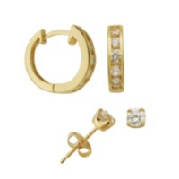 Sterling Silver Gold Plated 4 mm Cubic Zirconia Stud and Huggie Hoop Earring Set