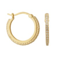 Sterling Silver Gold Plated Cubic Zirconia Hoop Earring