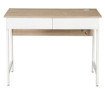 Hometrends 39.4'' White Computer Desk 2 Drawers Computer Desk with USB Charger Study Writing Table Home Office Workstation