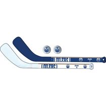 Franklin Sports NHL Edmonton Oilers Mini Hockey Player Stick Set - 2 stick and 2 ball set
