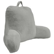 "Rabbit Faux Fur Bedrest Cushion 20"" x 22"" in Grey"