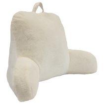 "Rabbit Faux Fur Bedrest Cushion 20"" x 22"" in White"