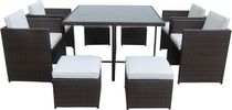 Henryka 9-Piece Dining Patio Set with Cushions - Brown