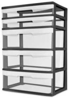 Sterilite 5 Drawer Black Wide Cart