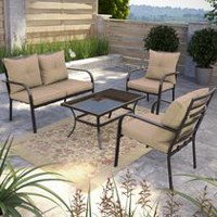 CorLiving PZT-437-S Speckled Brown and Taupe Patio Conversation Set