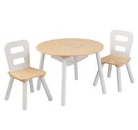 Ens. table ronde et 2 chaises Kidkraft en blanc/naturel