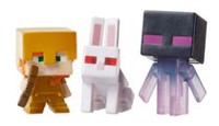 Minecraft coffret de 3 mini-figurines de collection - Lapin tueur, Cochon Zombie et Alex avec armure en or