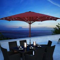 CorLiving PZT-754-U 8.5 ft Red Patio Umbrella with Solar Power LED Lights