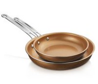 "Brentwood 8"" and 10"" Induction Copper Non-Stick Frying Pan Set"