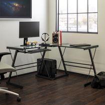 Manor Park Modern Glass Corner Computer Desk and Gaming Desk - Glass/Black