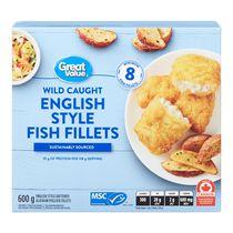 Filets de poisson enrobés de pâte à l'anglaise Great Value
