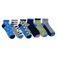 George Boys' 6-Pack Geo Anklet Socks 11-4